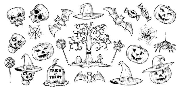 Een reeks afbeeldingen voor halloween.