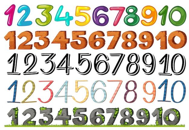 Een reeks cijfers en lettertypen