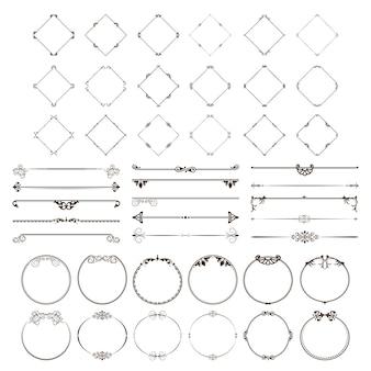 Een reeks decoratieve verdelers en frames