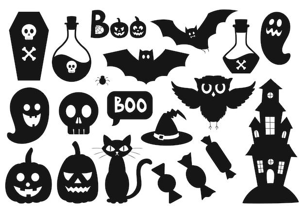 Een reeks eenvoudige zwarte silhouetten van halloween-symbolen en attributen. eenvoudige platte zwarte witte vector