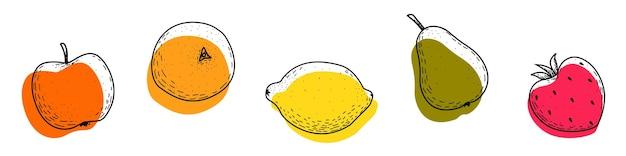 Een reeks fruitpictogrammen op een witte achtergrond appel sinaasappel citroen peer aardbei fruit doodles
