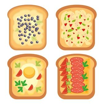 Een reeks geroosterde broodplakken met verschillende vullingen