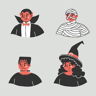 Een reeks grappige karakters op halloween. vier afbeeldingen van stripfiguren.