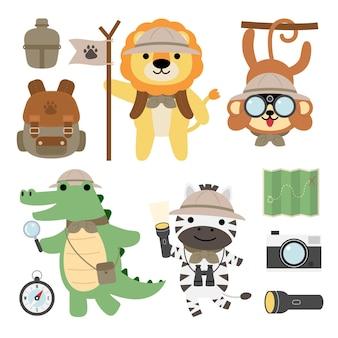 Een reeks grote geïsoleerde dierenavontuur reizende illustratie, handgetekende stijl, wandel- en kampeerconcept met reizende elementen.