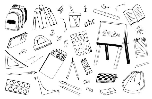 Een reeks handgetekende vectorschoolpictogrammen. terug naar school, onderwijs, studie. tekening