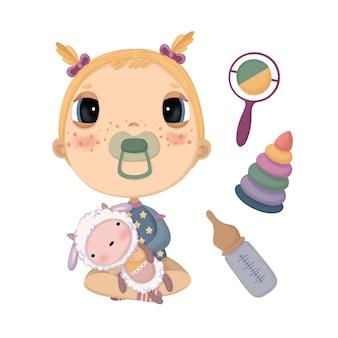 Een reeks illustraties met een kind dat een gevuld lammetje en speelgoed vasthoudt