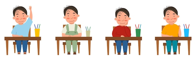 Een reeks illustraties met een student die aan een klaslokaal zit. de aziatische jongen aan tafel stak zijn hand op. moderne vectorillustratie in een vlakke stijl, geïsoleerd op een witte achtergrond.