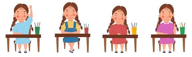 Een reeks illustraties met een student die aan een klaslokaal zit. het meisje met de staartjes aan de tafel stak haar hand op.