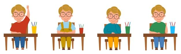 Een reeks illustraties met een student die aan een klaslokaal zit