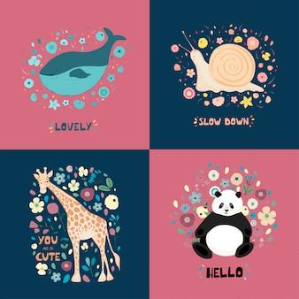 Een reeks illustraties met schattige dieren, bloemen en hand belettering. giraf, panda, slak, walvis