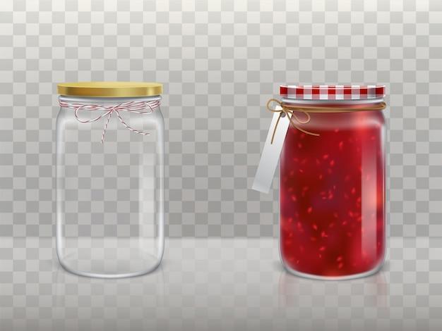 Een reeks illustraties van glazen ronde potten