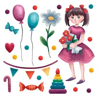 Een reeks illustraties voor meisjesdag, een meisje in een jurk met twee staarten met bloemen in haar handen, ballonnen, kamille, pailletten, gekleurde ballen, piramide, vlaggen, draad, hart, snoep, lolly