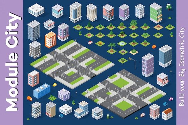 Een reeks isometrische huizen