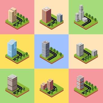 Een reeks isometrische stadswijken met hoogbouw