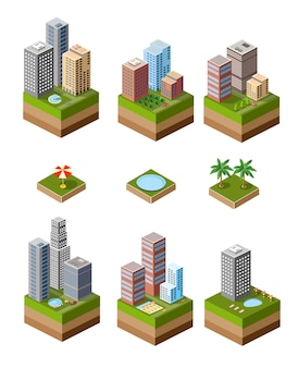 Een reeks isometrische stedelijke buurten met high-rise gebouwen en zwembaden