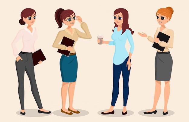 Een reeks karakters bedrijfsmensen, vergadering, opleiding, teamwork.
