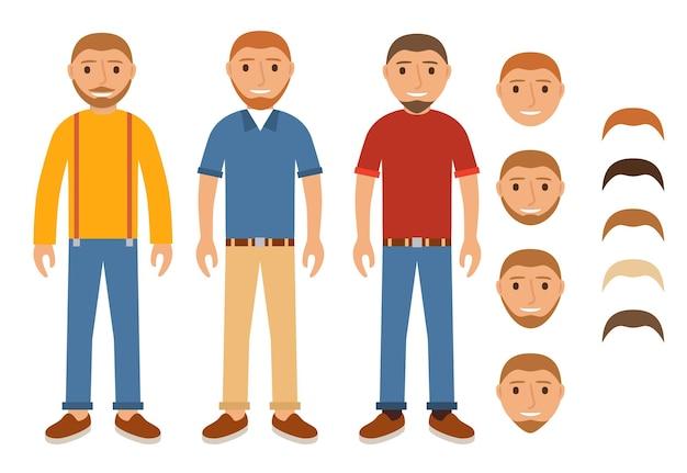 Een reeks karakters van jongens in vrijetijdskleding