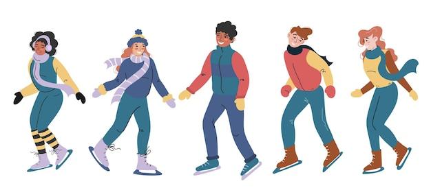 Een reeks karakters van verschillende nationaliteiten die in het winterseizoen schaatsen. mensen op een witte achtergrond