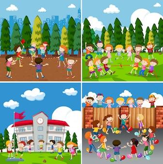 Een reeks kinderen die activiteit doen