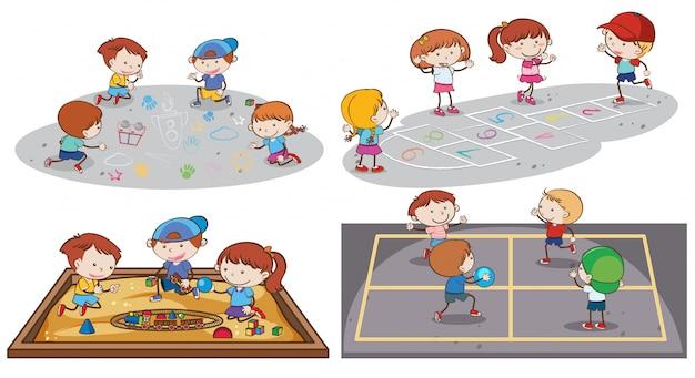 Een reeks kinderen die bij speelplaats spelen