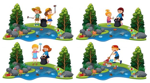 Een reeks kinderen die rivier schoonmaken