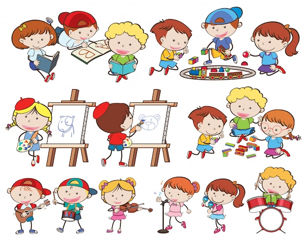 Een reeks kinderen en activiteiten