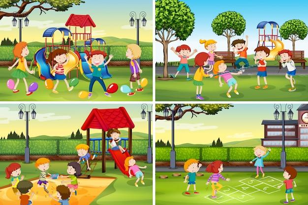 Een reeks kinderen op speelplaats Premium Vector
