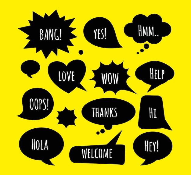 Een reeks komische bellen en elementen op gele achtergrond