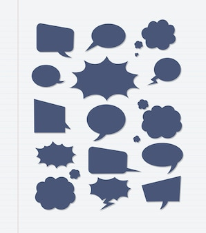 Een reeks komische spraak bubbels en elementen