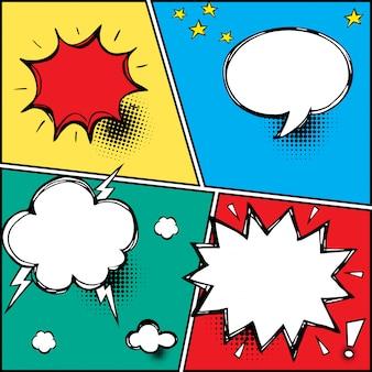 Een reeks komische tekstballonnen en elementen met halftone schaduwen