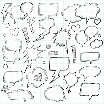 Een reeks komische tekstballonnen en elementen