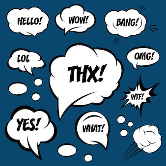 Een reeks komische tekstballonnen met tekst. omg, wtf, lol, wow