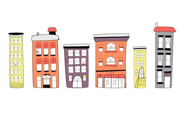 Een reeks leuke kleurrijke huizen in doodle stijl