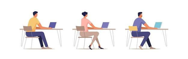 Een reeks mensen die op een computer werken. teamwerk. freelance. zoek naar medewerkers.
