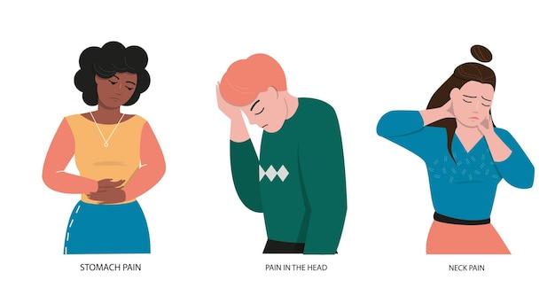 Een reeks mensen met verschillende pijnen. buikpijn, nekpijn en hoofdpijn.