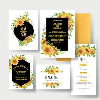 Een reeks mooie gele uitnodigingen van het zonnebloemhuwelijk