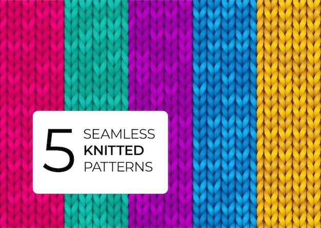 Een reeks naadloos gebreide patronen in heldere moderne kleuren.