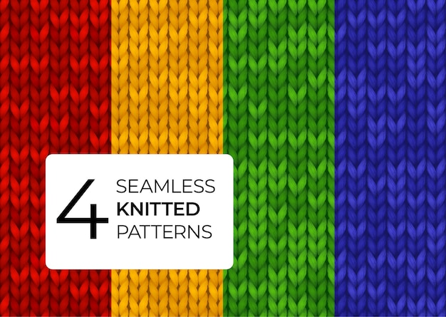 Een reeks naadloos gebreide patronen in heldere verzadigde kleuren. kleurrijke realistische gebreide texturen