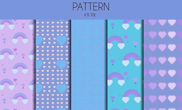 Een reeks naadloze schattige pastelpatronen met hartjes en regenbogen platte vector valentijnskaart