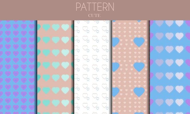 Een reeks naadloze schattige pastelpatronen met hartjes en regenbogen platte vector voor valentijnsdag