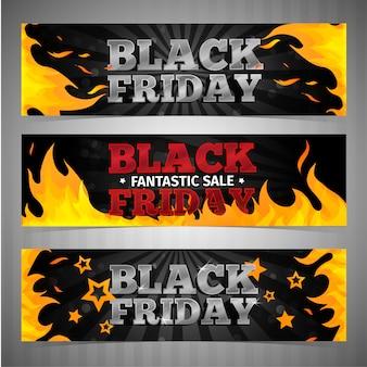 Een reeks ontwerpsjablonen horizontale webbanners voor zwarte vrijdag