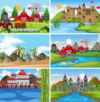 Een reeks openluchtscène met inbegrip van boerderij