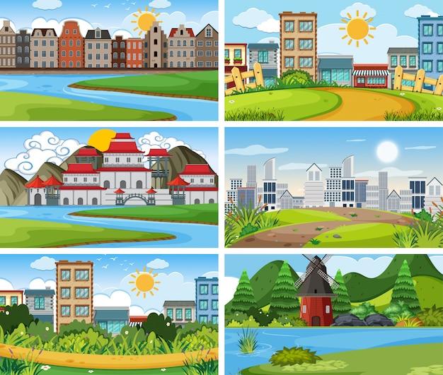 Een reeks openluchtscène met inbegrip van gebouw