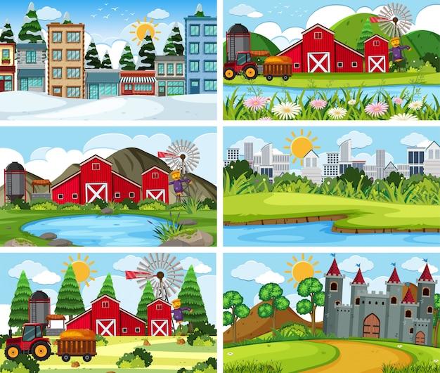 Een reeks openluchtscène met inbegrip van landbouwgrond