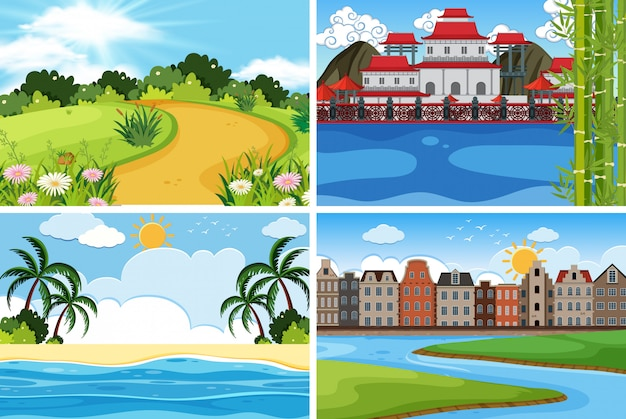 Een reeks openluchtscène met water
