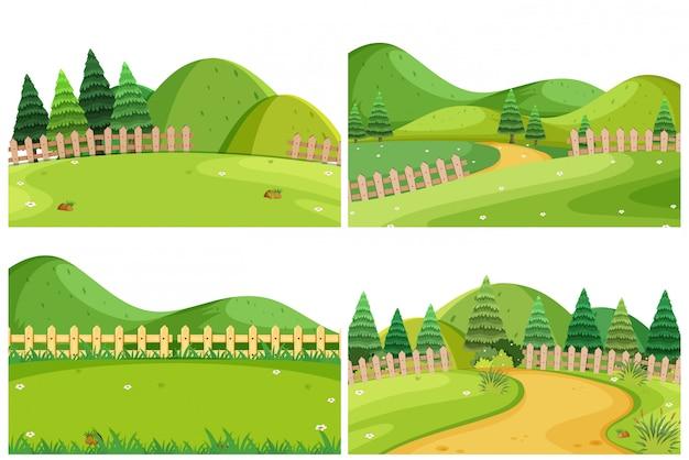 Een reeks openluchtscènes met inbegrip van heuvels