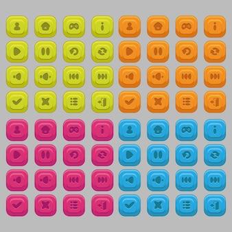 Een reeks pictogrammen met verschillende kleuren voor het gebruikersinterfaceontwerp van mobiel
