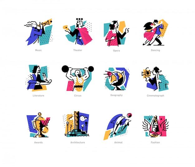Een reeks pictogrammen op het thema van kunstvormen.