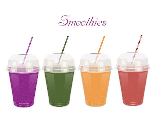 Een reeks plastic koppen met smoothies met buisjes op wit