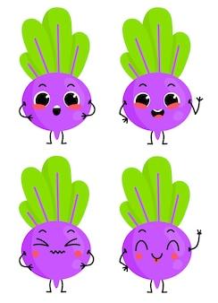 Een reeks schattige bietenkarakters vectorillustratie met plantaardig karakter dat op achtergrond wordt geïsoleerd
